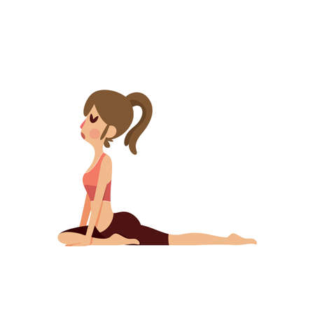ragazza praticare lo yoga in posa piccione