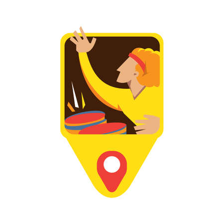 drums: man playing drums button Illustration