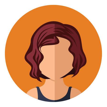 wavy: girl with short wavy hair Illustration