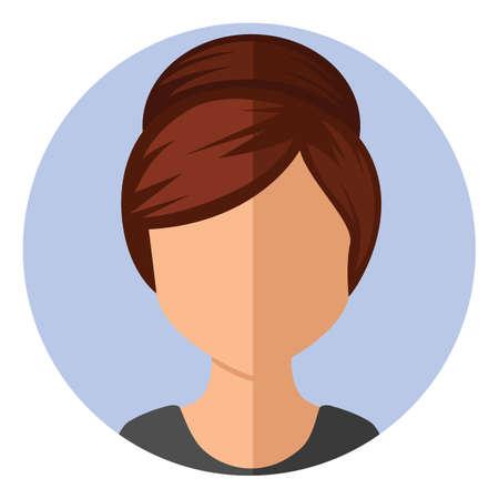 girl with hair bun updo Иллюстрация