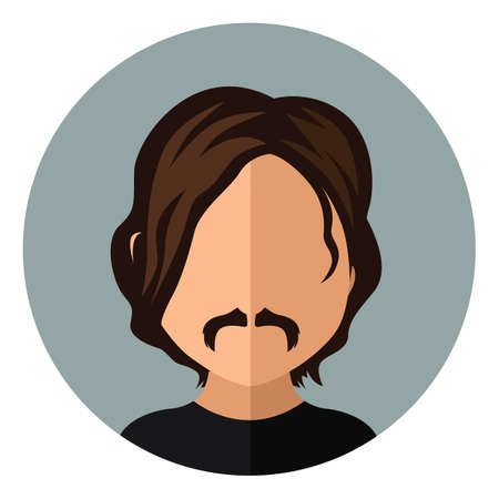 wavy hair: man with wavy hair and mustache Illustration