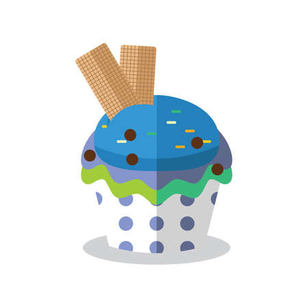 teatime: cupcake with wafer biscuit Illustration