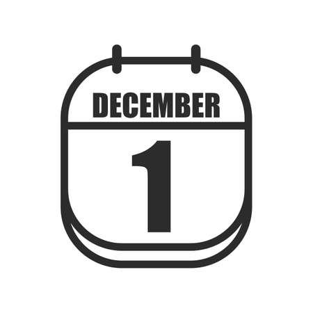 december: calendar marked on december first Illustration