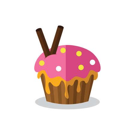teatime: cupcake with wafer sticks