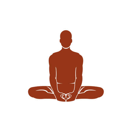 bound: man practicing yoga in bound angle pose
