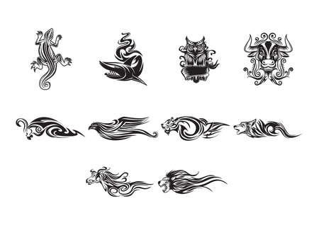eagle owl: set of tattoos