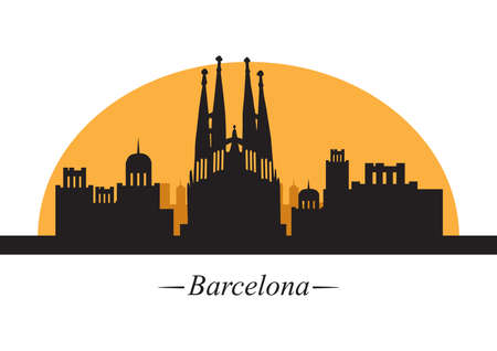 sagrada familia: silhouette of barcelona Illustration