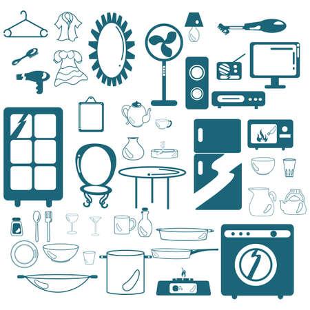 Ensemble d'appareils ménagers Banque d'images - 81469268