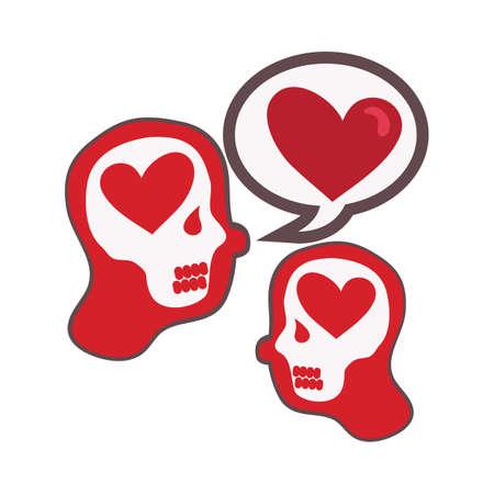contemplate: heart shaped speech bubble