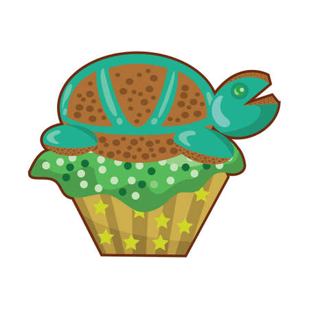 tortoise cupcake Illustration