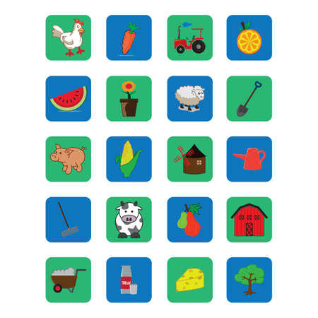 wheel barrow: set of agriculture icons