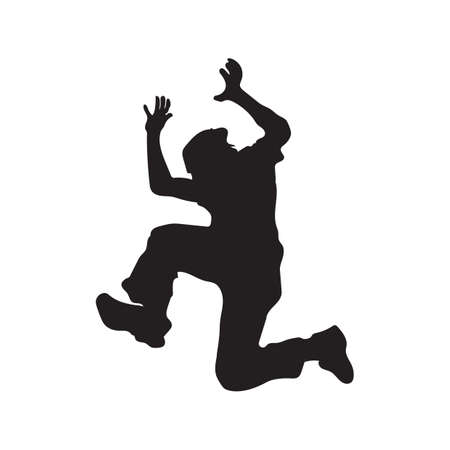 man jumping: silhouette of a man jumping Illustration