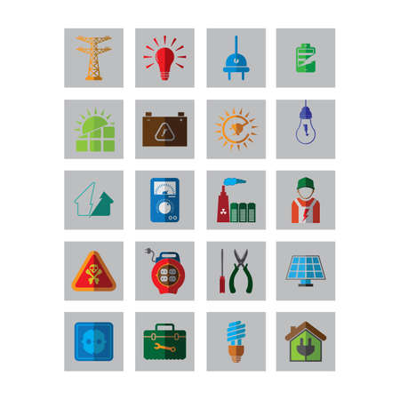 electric meter: set of electrical icons Illustration
