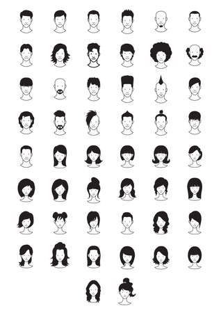 collection of hairstyles Illustration