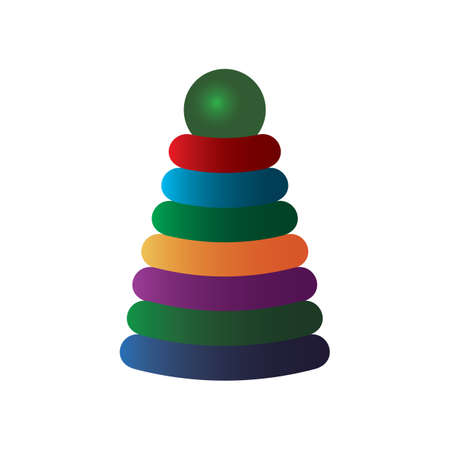 arrange: pyramid toy Illustration