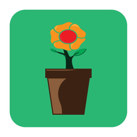 plant pot: sun flower plant pot Illustration