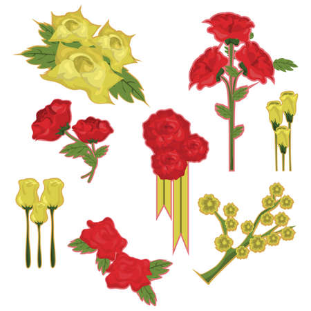 set of roses Illustration