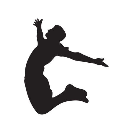 silhouette of a man jumping 向量圖像