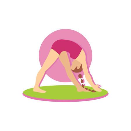 bending: woman with bending yoga pose Illustration