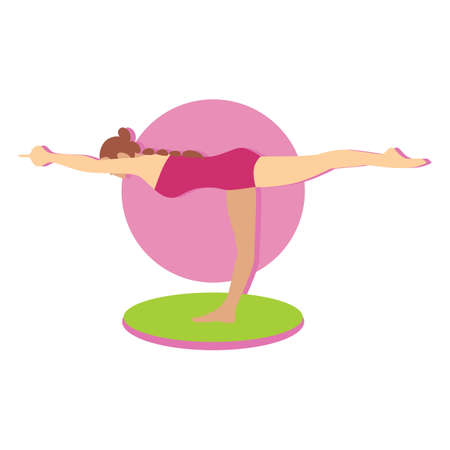 balancing: balancing stick pose Illustration