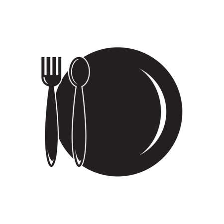 plate: fork spoon and plate Illustration
