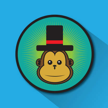top: monkey with top hat
