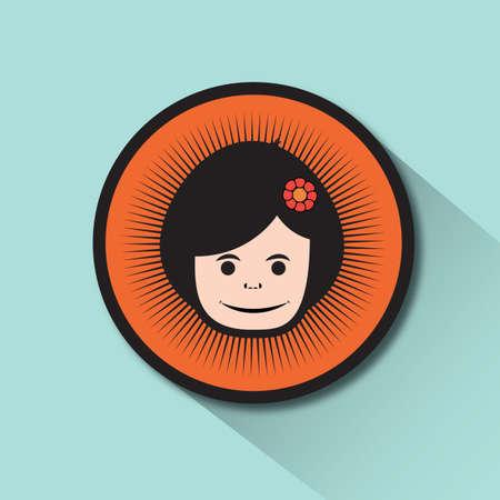 hair clip: girl with flower hair clip