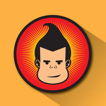 smirking: male with pompadour hairstyle Stock Photo