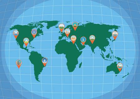 port jackson: navigation point indicating famous landmarks on a world map