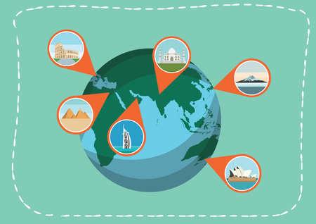 port jackson: navigation point indicating famous landmarks on a globe
