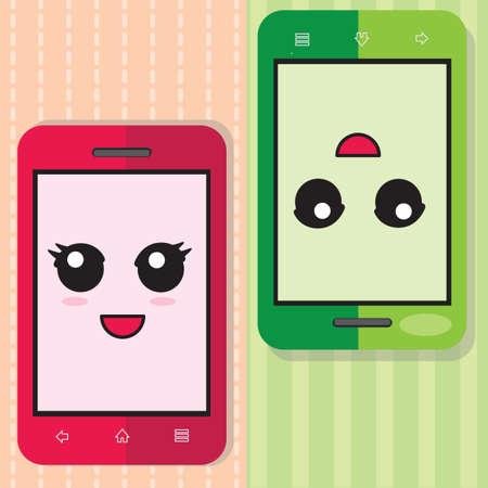 smiley: smartphone with smiley Stock Photo