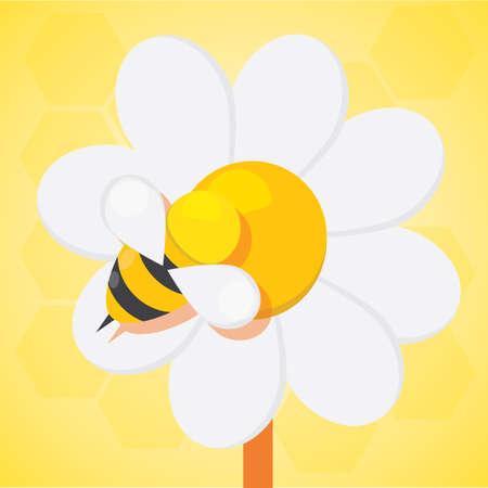 bee on flower: bee on flower pollen Stock Photo