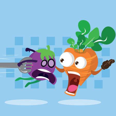 afraid: afraid brinjal and carrot