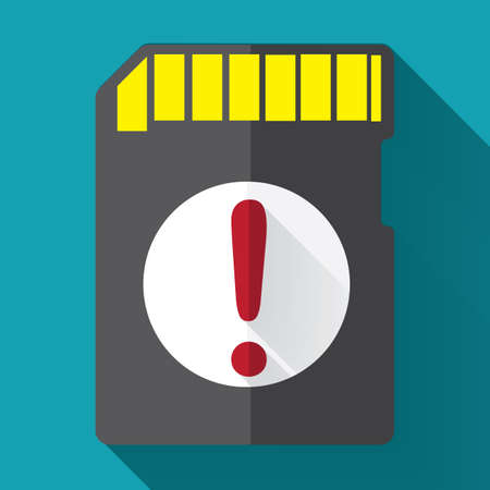 memory: memory card with a warning sign Stock Photo