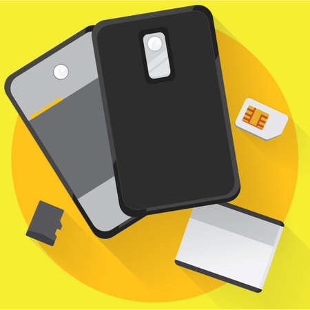 dismantled: dismantled phone and sim card Stock Photo