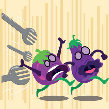 attacking: forks attacking on brinjals Stock Photo