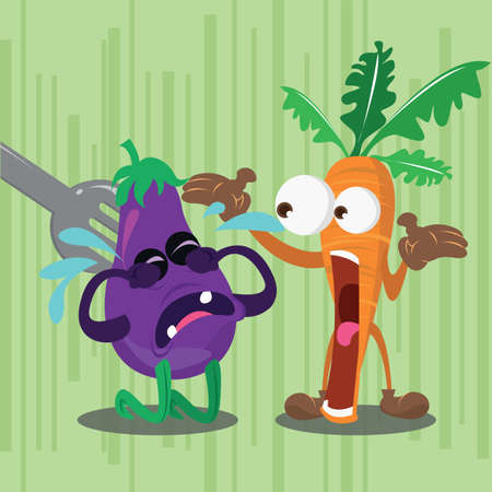angry vegetable: brinjal being eaten and angry carrot
