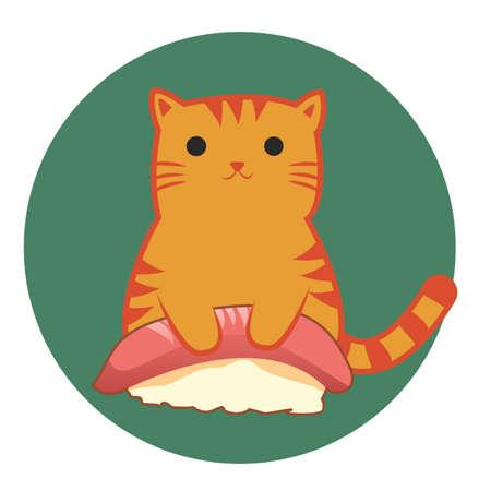 upright: cat cartoon sitting upright with sushi Stock Photo