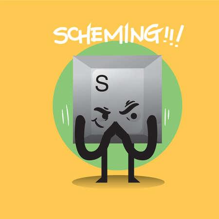 scheming: scheming keyboard button Stock Photo