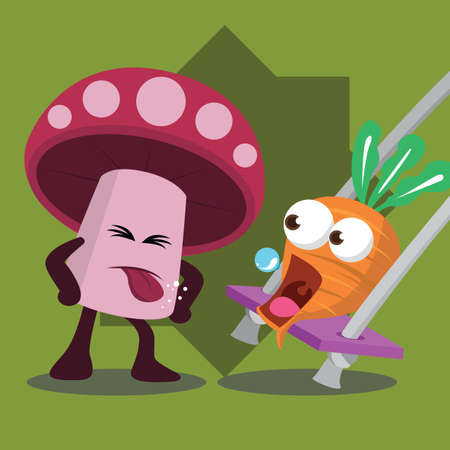angry vegetable: carrot on swing and mushroom