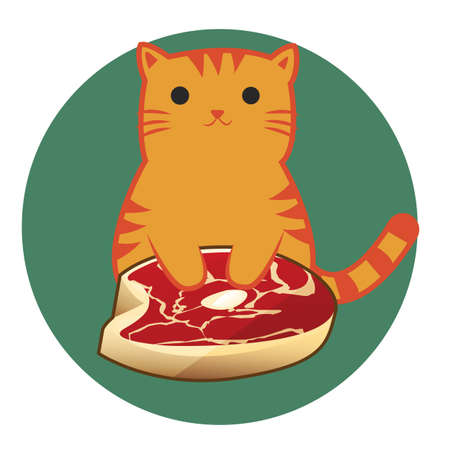 raw meat: cat cartoon sitting upright with raw meat
