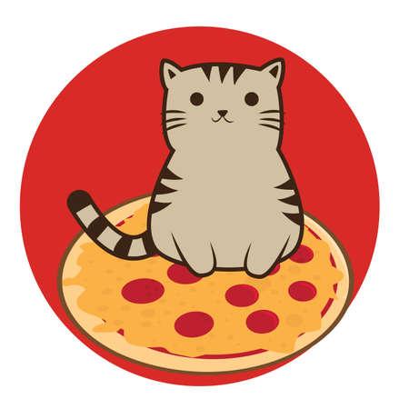 upright: cat cartoon sitting upright with pizza Stock Photo