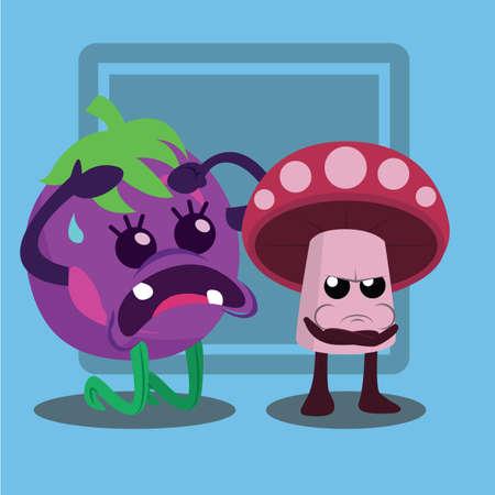 angry vegetable: angry brinjal and mushroom