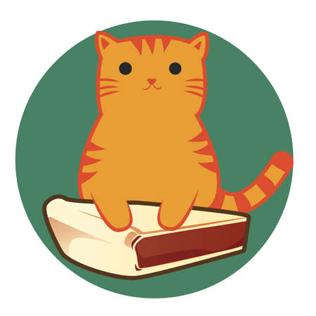 upright: cat cartoon sitting upright with pie slice Stock Photo