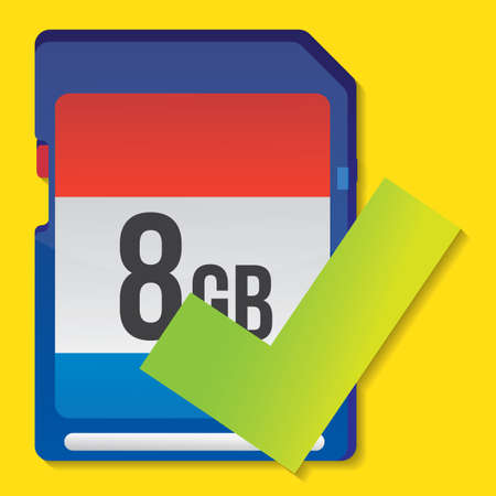 memory: memory card with tick Stock Photo