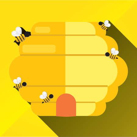 beehive: bees surrounding beehive