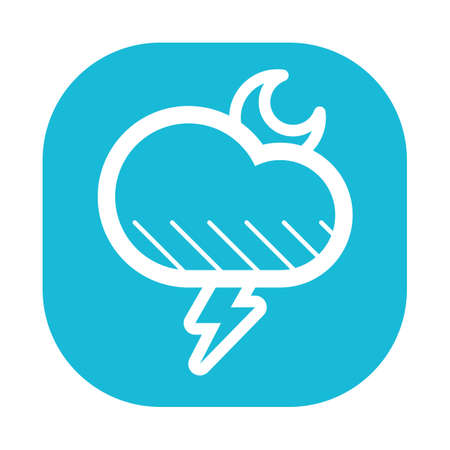 thundering: moon and thundering cloud icon Stock Photo