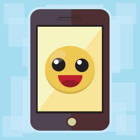 smiley: smartphone with smiley emoticon Stock Photo