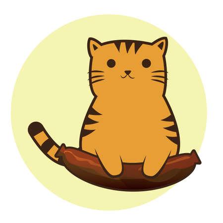 upright: cat cartoon sitting upright with sausage