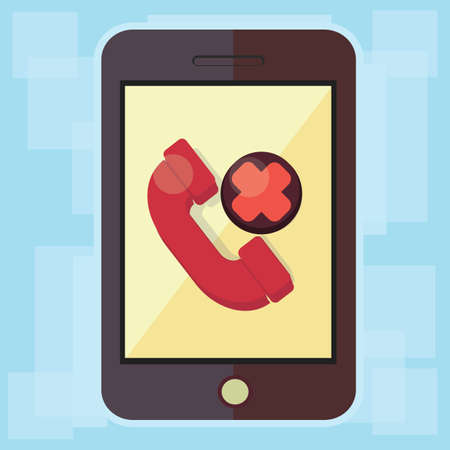 missed: smartphone with missed call icon Stock Photo